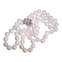 "25"" Single Strand 8mm x 8mm Cultured Pearl Necklace with 14K Gold .20CT TW Diamond Clasp"