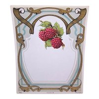 Art Nouveau French Raspberry Label Printed in France Raspberries