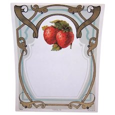 Art Nouveau French Strawberry Label Printed in France Strawberries