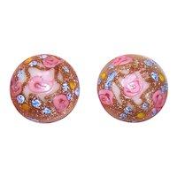 Made in Italy Italian Murano Glass Wedding Cake Bead Clip Earrings