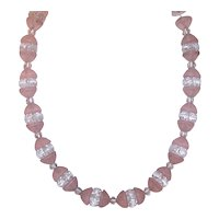 Art Deco Moulded Glass Bead Necklace - Pale Pink & Frosted Clear Beads