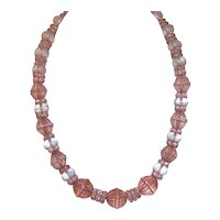 Art Deco Glass Bead Necklace - Pale Pink & Frosted Clear Rondelles with Molded Barrel Beads