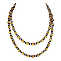 Art Deco Glass Bead Necklace - Amber Black Clear Crystal Beads with Sterling Silver Clasp