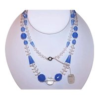 Art Deco Glass Bead Necklace - Blue & Clear Crystals with Original Famous Barr .29 Price Tag