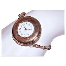 Antique Edwardian Ladies Rose Gold Filled Working Wrist Watch or Pocket Watch by Ideal - Monogram EMR