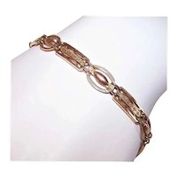 Art Deco British/English Made 9K Rose Gold Link Starter Charm Bracelet