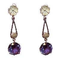 Art Deco 14K Gold 9.25CT TW Synthetic Alexandrite Screwback Earrings