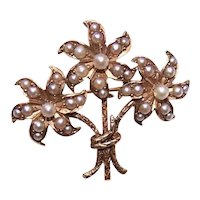 Antique Victorian 14K Gold Natural Pearl Floral Bouquet Pin with Original Box