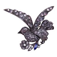 Victorian Revival 14K Gold Silver 2CT TW Rose Cut Diamond Dove Saint Esprit Pin Brooch
