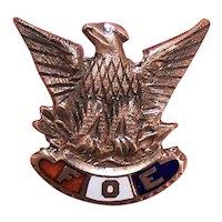 10K Gold Enamel FOE Fraternal Order of Eagles Member Pin with Clutch