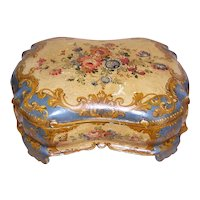 Shabby Chic Italian Tole Handpainted Wood Box with Lots of Florals - French Blue & Gold