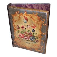 Italian Tole Hand Painted Wood Floral Looseleaf Binder - Mustard Yellow & Olive Green