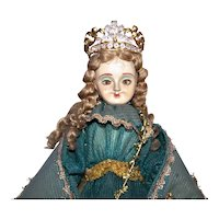 Vintage Made in Italy or Portugal Santo Nino de Atocha Santos Doll - Patron Saint of Prisoners | Handpainted Details Glass Eyes Wool Hair