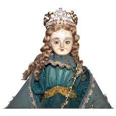 Vintage Made in Italy or Portugal Santo Nino de Atocha Santos Doll - Patron Saint of Prisoners | Handpainted Details Glass Eyes Wool Hair