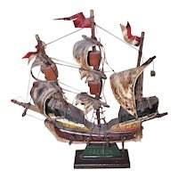 Vintage Made in Italy Captain Kidd Black Falcon Pirate Ship Wood Painted Canvas Sails Nautical Maritime Home Decor