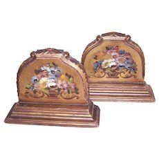 Pair Art Deco Handpainted Floral Heavy Barbola Wood Bookends Book Ends