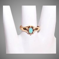 Antique Victorian 14K Gold Natural Opal Ring Belcher Setting