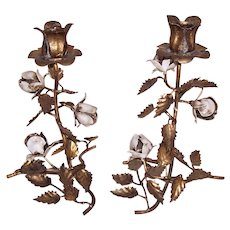 Mid Century Made in Italy Italian Tole Candle Holders  - Gilt Gold Metal with Painted Cream Roses