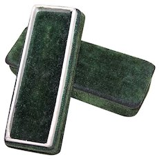 Antique Emerald Green Velvet Stick Pin Jewelry Box - No Jeweler Name