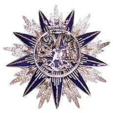 Coro Silver Tone Metal Cold Enamel Costume Pin - Royalty Badge Shield Starburst