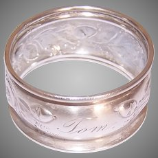 Antique Victorian Silverplate Napkin Ring Engraved Tom