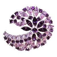 Unsigned Costume Pin - Silver Tone Metal Purple Rhinestones