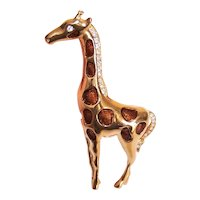 Unsigned Gold Tone Metal Cold Enamel Rhinestone Costume Pin - Giraffe