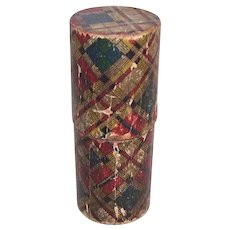 Art Deco Papered Wood Tubular Box - Louis D'Or Container - Antique Tartanware Treen