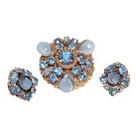 Regency Gold Tone Metal Blue Rhinestone Set - Pin/Brooch and Clip Earrings