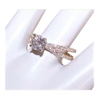 GIA 14K Gold .70CT Diamond Engagement Ring Crossover with .60CT TW Shoulder Diamonds = 1.30CT TW Gemstones