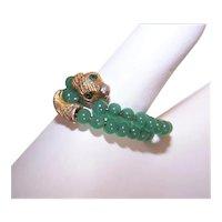 Vintage Adjustable Costume Snake Ring with Jade Beads and Green Rhinestone Eyes