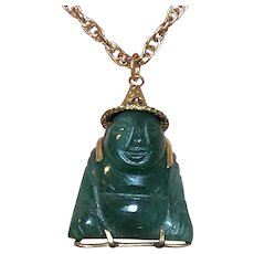1960s Asian 14K Gold Carved Jade Buddha Charm or Pendant - 6.9 Grams