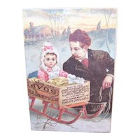 Babbitt's Baby Soap - Daughter in Soap Box Sled with Father - Winter Scene - Antique Victorian Trade Card