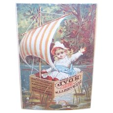Babbitt's Baby Soap - Child in Soap Box Boat on Pond - Antique Victorian Trade Card