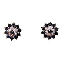 Classic Cluster 14K Gold 1CT TW Blue Sapphire & Diamond Stud Earrings