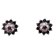 Classic Cluster 14K Gold 1CT TW Blue Sapphire & Diamond Stud Earrings