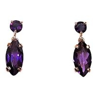 Art Deco Revival 14K Gold 2.70CT TW Amethyst Drop Earrings Pierced Earrings