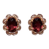 14K Gold 2CT TW Garnet Pierced Earrings Stud Earrings