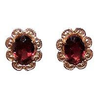 14K Gold 2CT TW Garnet Pierced Earrings Stud Earrings