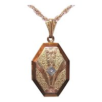Art Deco Gold Filled Coffin Shaped Locket Pendant with Diamond - Etched Floral Top - Original Rims & Plastic Coverings