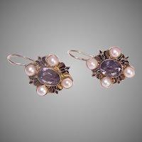 Renaissance Revival Sterling Silver Vermeil Amethyst Pearl Earrings
