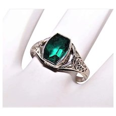 Art Deco 14K Gold Green Glass Paste Filigree Ring