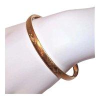 Beau Brushed Finish Gold Filled Hinged Oval Bangle Bracelet Engraved 9-8-73 on the Inside