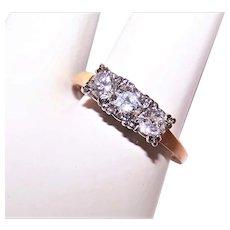 14K Gold .80CT TW Diamond Engagement Ring - Past Present Future 3 Stone Ring