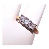 Estate 14K Gold .80CT TW Diamond Engagement Ring - Past Present Future 3 Stone Ring