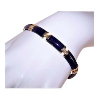 Hong Kong 14K Gold Lapis Lazuli Curved Link Bracelet Chinese Character FU for Happiness