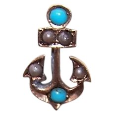 Antique Victorian 10K Gold Natural Pearl Turquoise Stick Pin - Anchor for Hope