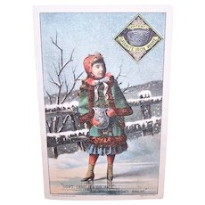 Granite Iron Ware St Louis Stamping Co -  Girl in Winter Scene - Victorian Trade Card