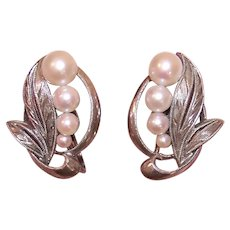 Vintage Mikimoto Sterling Silver Graduated 2.5mm to 5.5mm Cultured Pearl Earrings