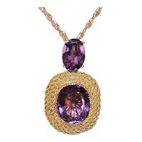 Estate 18K Gold Amethyst Drop Pendant - Medium Size Necklace Enhancer